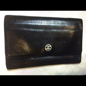 Chanel authentic CC logo long bifold wallet