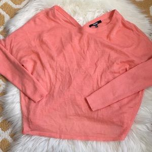 coral asos open back wrap sweater size 6