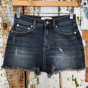 VS Pink High Waisted Cut Off Shorts Dark Wash