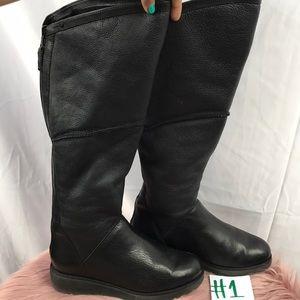 ceddaa6032c UGG Shoes | Kendi Shearling Lined Black Leather Slim Wedge | Poshmark