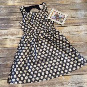 ModCloth polka dot blue & gold dress size Medium