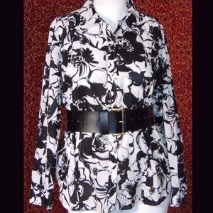 JONES NEW YORK black floral cotton shirt blouse 2X