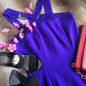 Vintage Purple Cross Front Leg Slit Gown