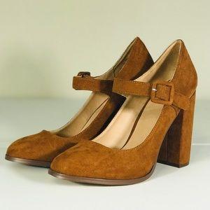 Brown Bronze Suede Pump Heels Round Tor size 8.5