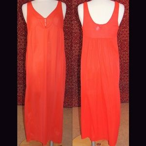Orange Vintage full length long night gown M