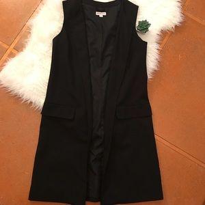 Merona Longline Sleeveless Black Blazer Size 10