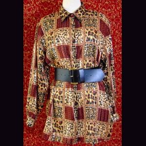 YVES ST. CLAIRE brown animal polyester blouse 16W