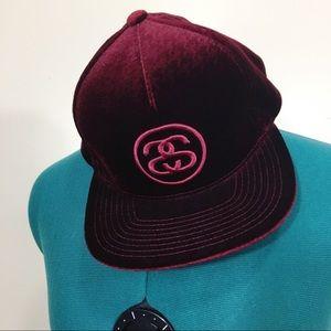 Stussy dark red color velvet SnapBack hat