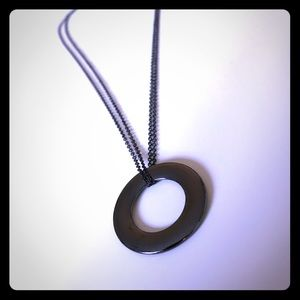 EXPRESS Black Circle Pendant Necklace