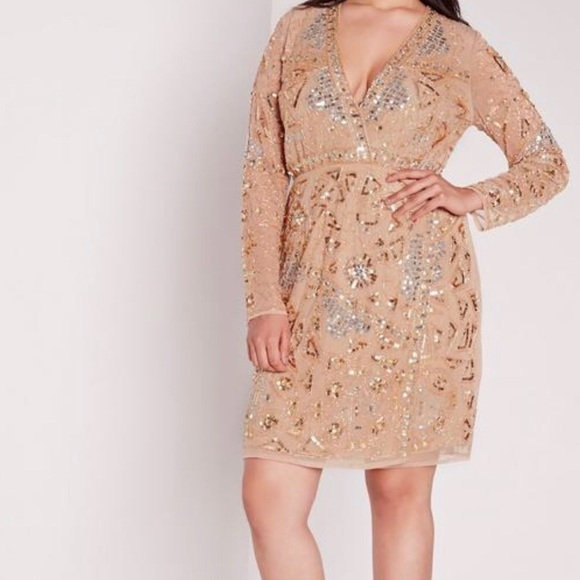 Plus size premium embellished gold dress NWT