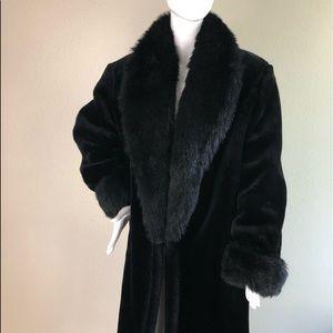 Monterey fashion vintage black faux fur coat