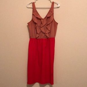 Two-Toned Dress with Ruffle Detail