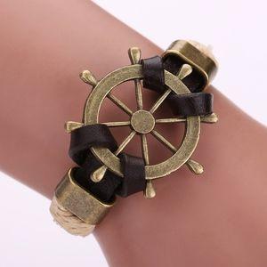Jewelry - Ship Wheel Charm Brown Woven Leather Belt Bracelet