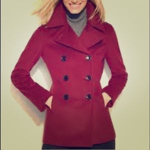 Calvin Klein size 4 dark red pea coat gently used