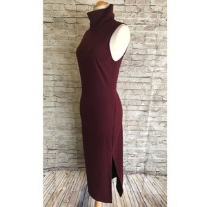 Silence + Noise Mock Neck Bodycon Midi Dress Small