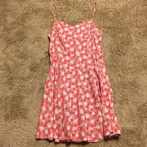 Fit and Flare Pink Flowered Dress - Old Navy