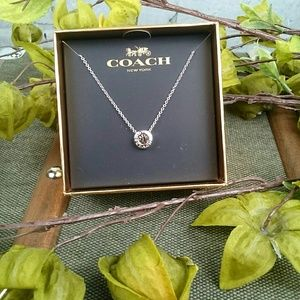 NWT Coach slvr open circle necklace with crystal