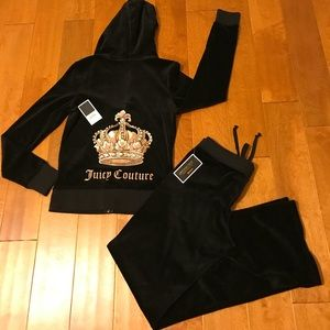 Juicy Couture Black velour hoodie and pant size S