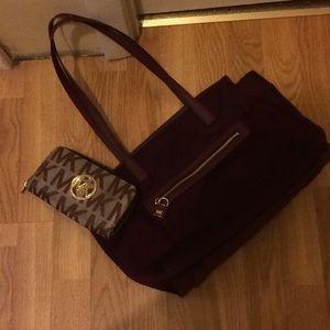 Michael Kors Burgundy handbag and wallet
