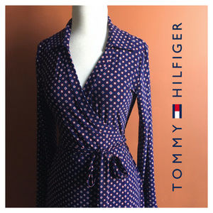 TOMMY HILFIGER Navy Blue Wrap Dress