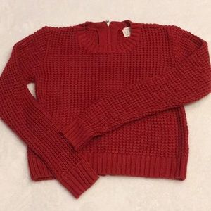 LA Hearts Red Knit Zipper Back Crop Sweater