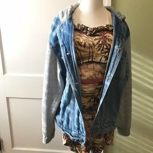 Vintage Oversize Hooded Denim Jacket Sz M