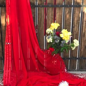 Dresses & Skirts - Georgette mirror work saree