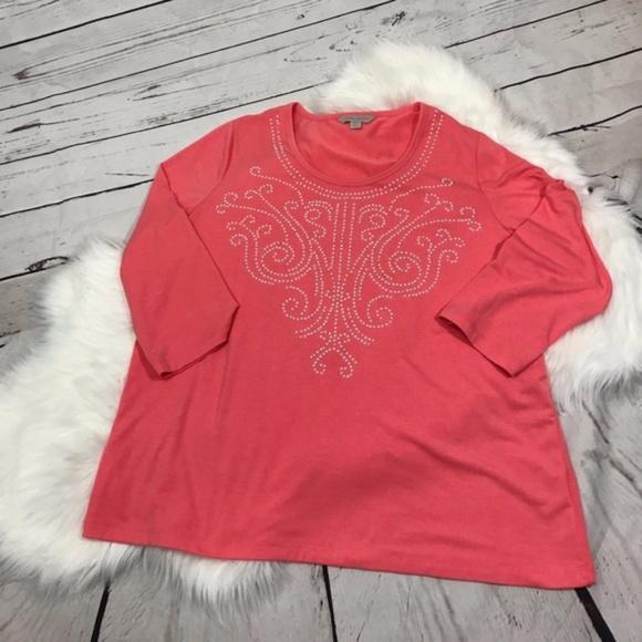 f1bc8c8c9b76a 75% off Laura Ashley Tops Petite Xl Coral Top W Bead Design