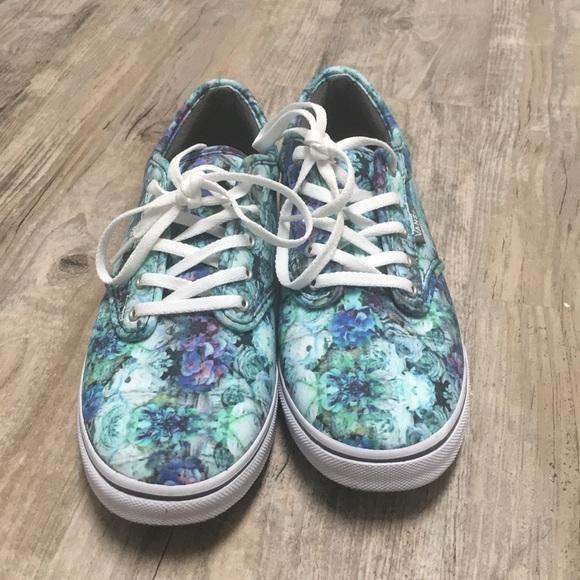 809da5c77d4c09 Blue and Green floral Vans. M 5a2b2ce72599fe75b9046fb1