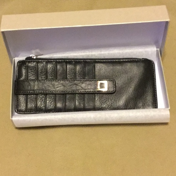 Lodis Black//Silver Leather Credit Card Stacker Wallet Insert NWOT