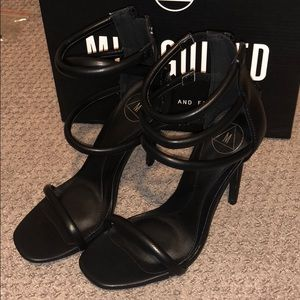 New in Box Missguided Black Ankle Strap Heels 6