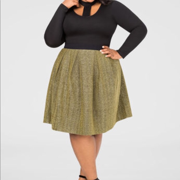 3f46d8f8d5 Ashley Stewart Dresses   Skirts - Gold glitter skirt. Black waistband