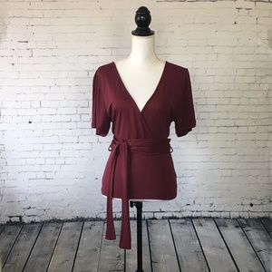 Asos Burgundy Wrap Blouse New With Tag