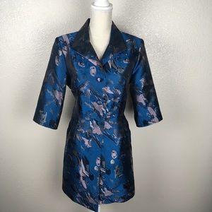 Jackets & Blazers - Blue and Silver Dress Coat Fancy Metallic Floral