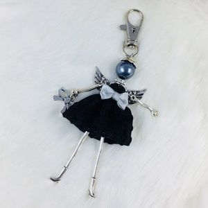 Accessories - Lady In Black Angel Costume Dress Keychain