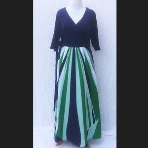 New Eshakti Striped Fit & Flare Maxi Dress 22W