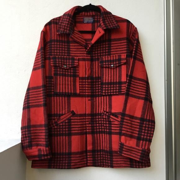 Pendleton Other - Pendleton Men's Red Plaid Wool Coat Size M