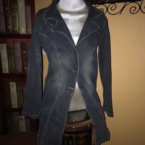 Forever 21 long jean jacket coat denim stretch