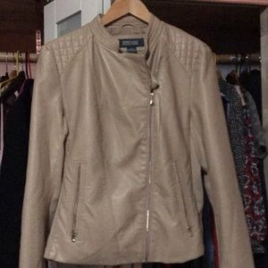 Kenneth Cole Beige Leather Jacket
