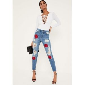 Missguided blue riot rose embroidered mom jeans