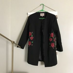 Modcloth Floral Embroidered Jacket by Darling
