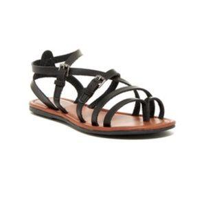 Black Gladiator Strappy Buckle Sandal