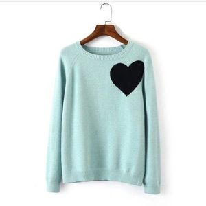 Mint heart knitted sweater ❤️