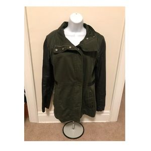 H&M Military Jacket faux leather arms and details