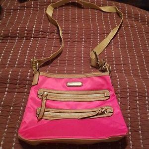 Dana Buchman hot pink and tan cross body bag