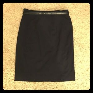 H&M Size 8 Black Belted Lined Pencil Skirt