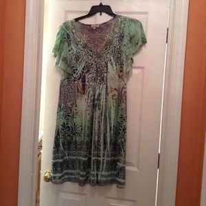 One World green patterned dress.