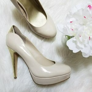 G by Guess Wandaa Nude Gold Platform Pumps