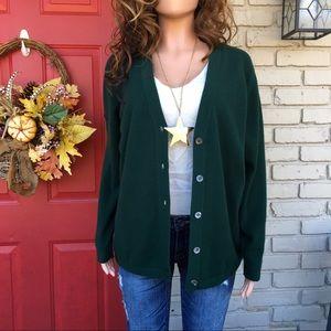 Hunter green cashmere cardigan