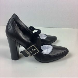 "Vera Wang JARDINE Black Leather 4"" heels shoes 8.5"